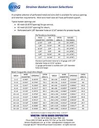 Strainer Basket Screen Selections brochure