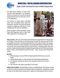 Type 110V In-line Vane Separator brochure