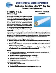 "W--L536Rb-ET Series Coalescing Cartridge with ""ET"" Top Cap for Type 140 Gas-Liquid Coalescers"