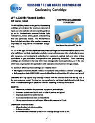 WP-L536Rb Pleated Series Coalescing Cartridge for Type 140 Gas-Liquid Coalescer